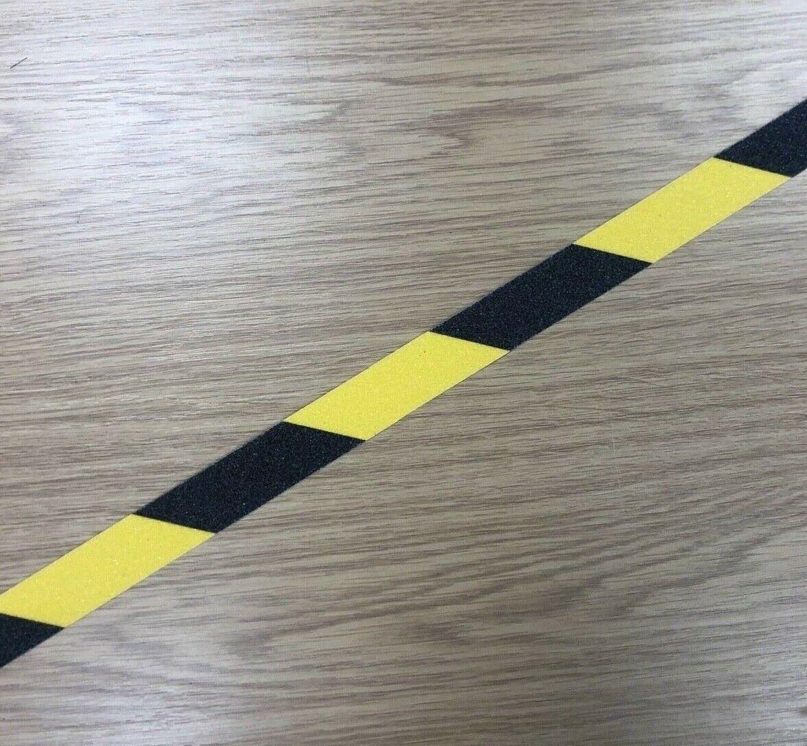 1m Strips 25mm Anti-Slip Tape Black/Yellow Grip Warning Hazard Adhesive