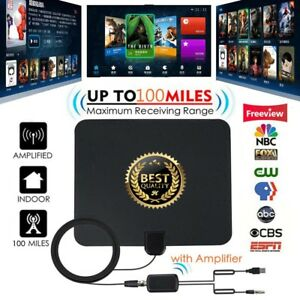 Indoor-TV-Antenna-Digital-Aerial-HD-Freeview-Amplified-Thin-HDTV-100-Mile-Range