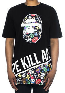 Men-039-s-Hudson-Outerwear-Ape-Kill-Ape-Shirt-Black-Ape-Eyes-Cartoon-S-S-Tee-Shirts