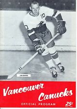 1962 (Nov.16) WHL Hockey Program, Seattle Totems @ Vancouver Canucks, Jim Baird