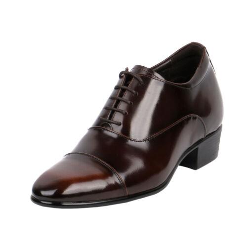 "Wide Shoe Two Tone Brown Glossy Formal Elegant /& Dressy 2.8/"" Tall JW504"