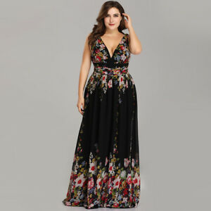 Details about Ever-Pretty US Plus Size Long Bridesmaid Dress Formal Floral  Print Evening 09016