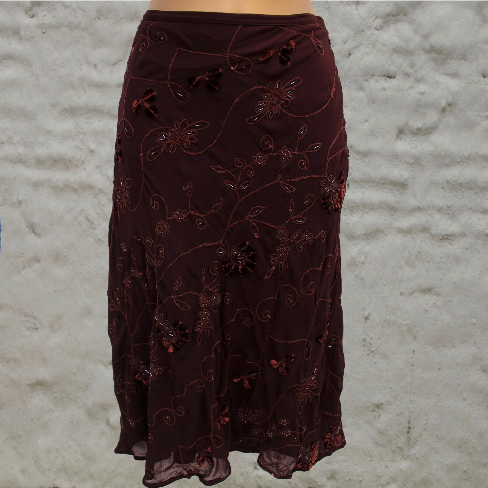 WHISTLES Vintage Brown Beaded Velour Embroidered Calf Length Party Skirt
