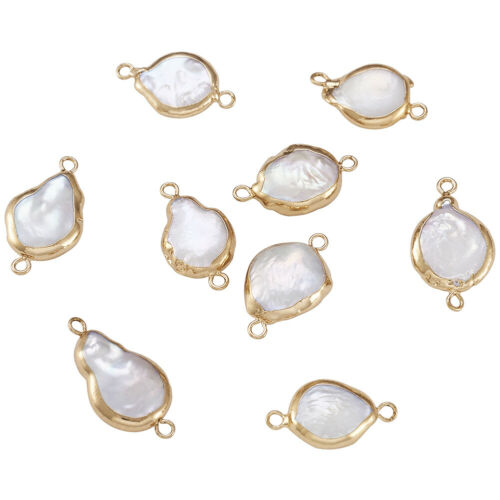 10pcs Plated Natural Keshi Pearl Links Connector Drop Pendants Charms 20~26mm