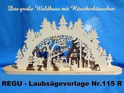 """REGU Laubsägevorlage f SOCKELBANK Sb /""""Tiere auf d Waldlichtung/"""" Schwibbogen 01"""