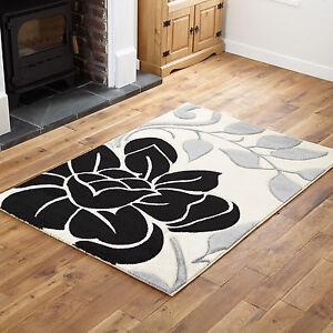 Petit-moyen-large-extra-large-creme-douce-design-elegant-noir-fleuri-Tapis