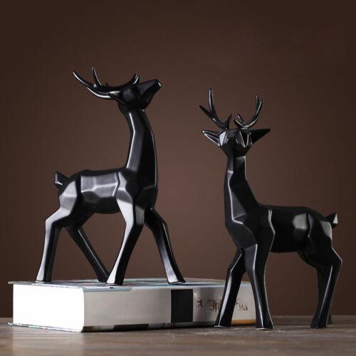 Dekofiguren Origami-Design Skulptur Statue Porzellan stehende Hirsche 2-er Set