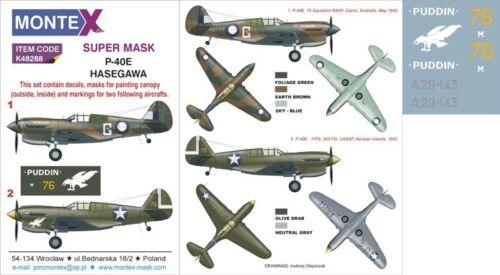 Montex Super Mask 1:48 P-40 E for Hasegawa Kit #5 Spraying Stencil #K48288