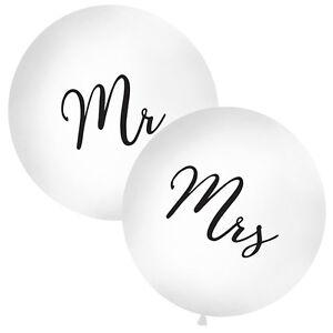 PartyDeco Hochzeit XXL Riesen Luftballon /Ø 1m Mrs wei/ß//schwarz