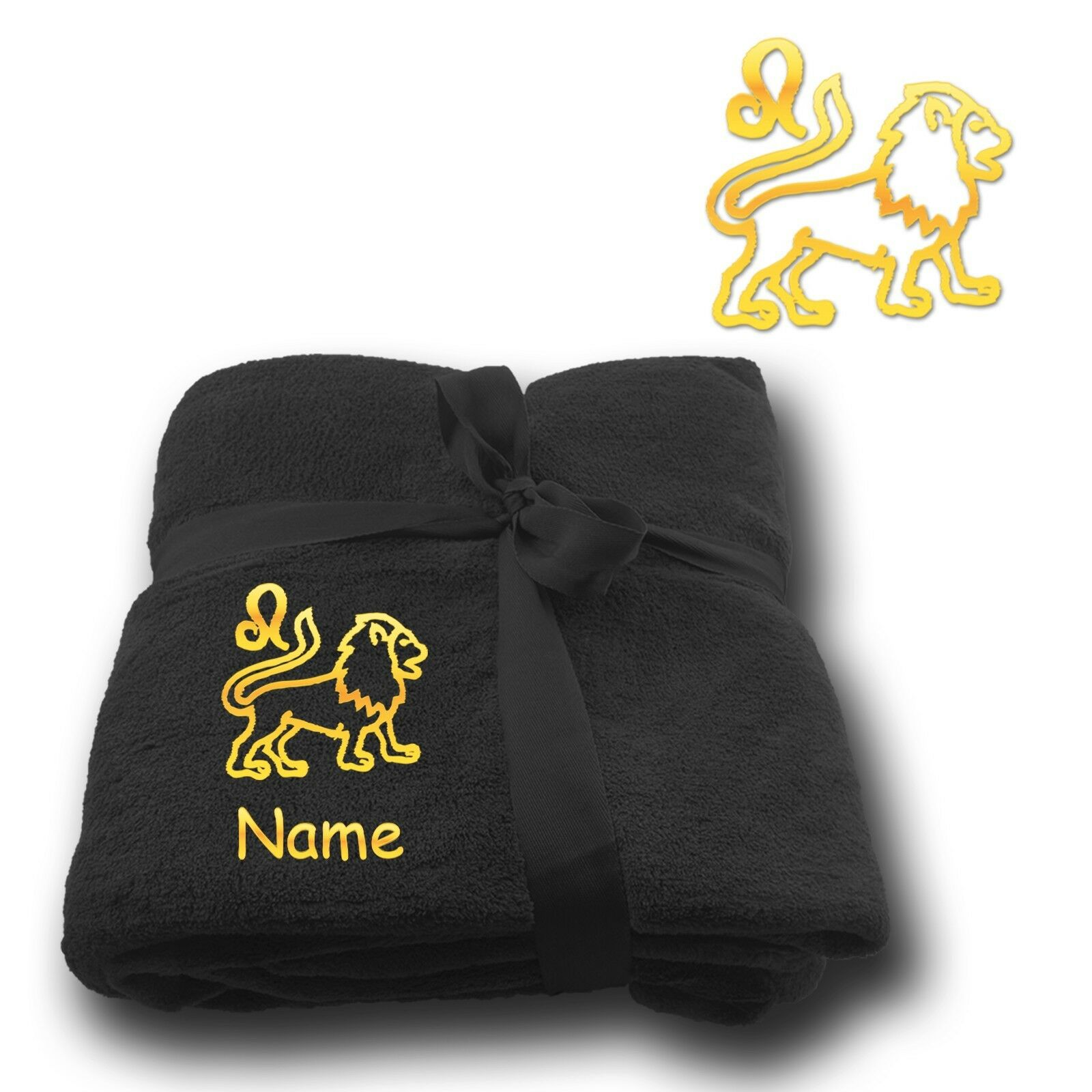 Fleecy Cuddle Blanket Embroidery Astrological Sign Leo + Name