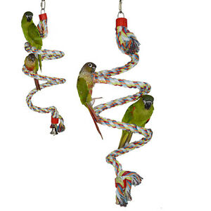 GH 2 Size Parrot Birds Climbing Comfy Perch Rope Bungee Bird Toy Climb Ladder