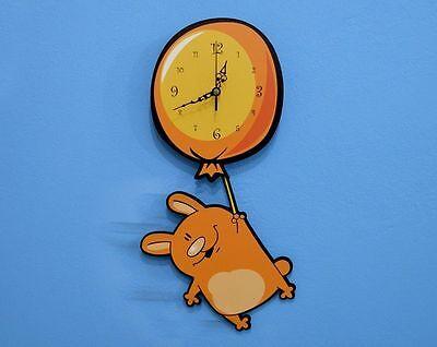 Halloween Bat Swinging on Moon Pendulum Wall Clock
