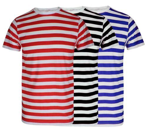Red And White Striped Tshirt Black Blue Stripe Top Boys Mens T Shirt Book Week