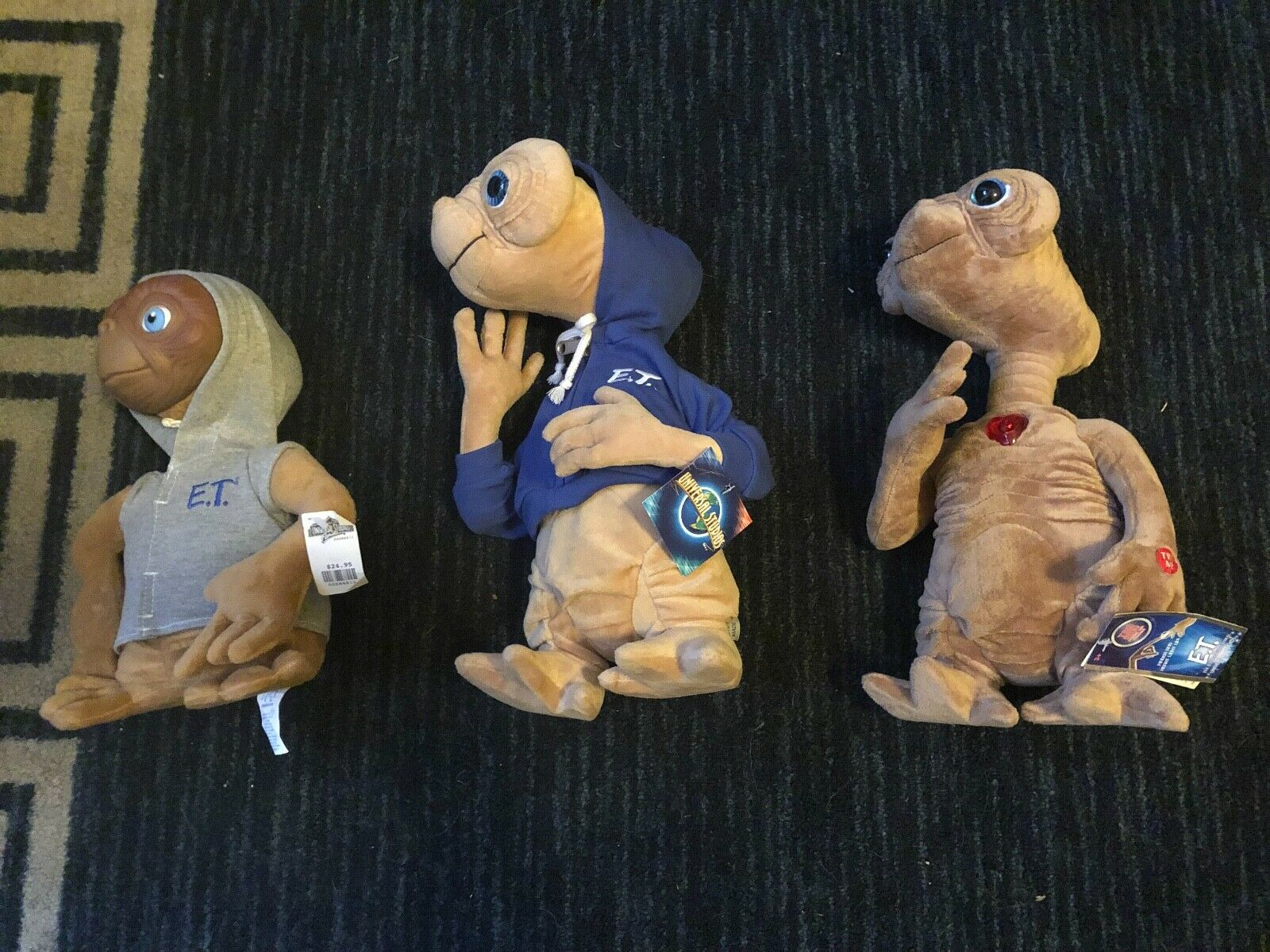 LOT OF 3 E.T. STUFFED ANIMALS FROM UNIVERSAL STUDIOS, NEW W TAGS