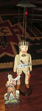 Davy Crockett Marionette W-Custom Stand, Instructions, Standee, Guitar & Knife