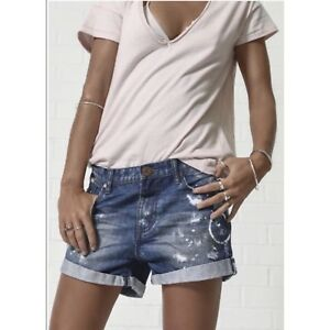 ee6c8ae8d1 Image is loading One-Teaspoon-Denim-Shorts-Size-24-Chargers-Distressed-