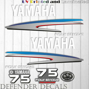 Yamaha 60 HP Four Stroke outboard engine decal sticker kit reproduction Printed