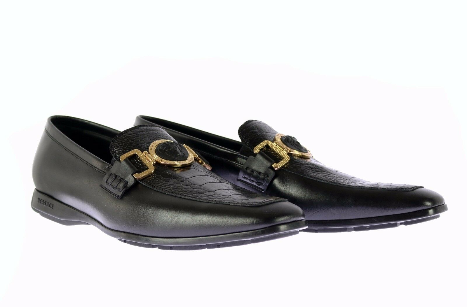 New Versace Black Ostrich Ostrich Ostrich and Leather City Loafers shoes 39.5 - 6.5 becc53