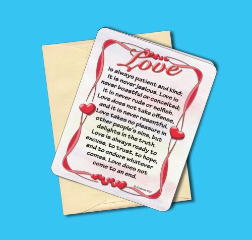 "/""Love Is Patient/"" Sku# 624 Greeting Card Blank Inside Inspirational Poem"
