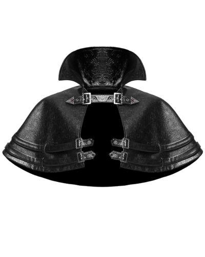 Devil Fashion Womens Gothic Punk Shrug Shoulder Cape Black Embossed Faux Leather