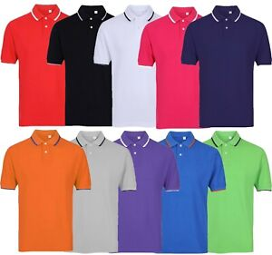 Mens-Short-Sleeve-Plain-Tipping-Polo-Shirt-T-Shirt-Top-Casual-Cotton-S-2XL
