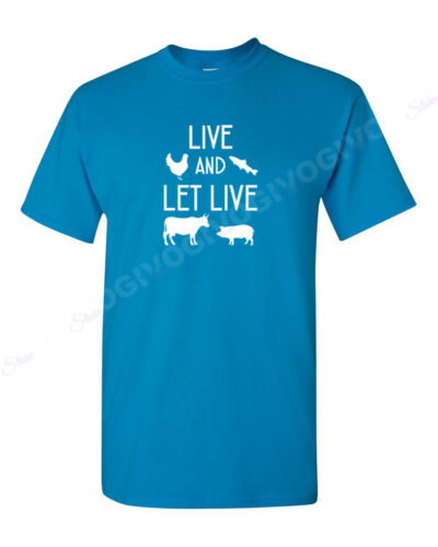 Mens Live And Let Live T Shirt Vegan Vegetarian Cow Inspirational Animal Rights
