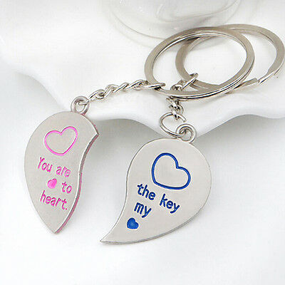 2pcs Pair Couple Keychains Heart Key Lock I Love You Forever USA Shipper Fast #7