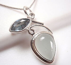 Faceted-Blue-Topaz-and-Chalcedony-925-Sterling-Silver-Pendant-Corona-Sun