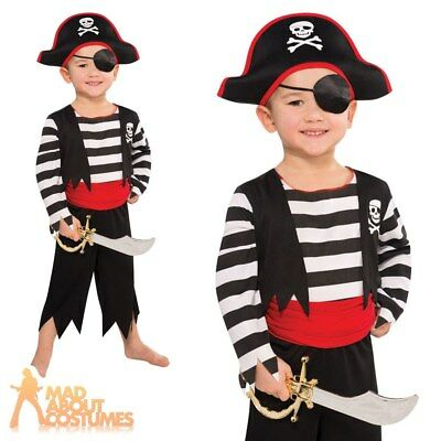 Kids Pirate Costume Toddler Deckhand Captain Hook Fancy Dress Boys Girls Outfit