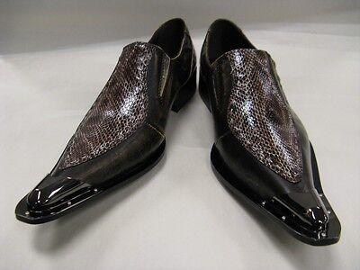 New Brown Men's Fiesso Pointed Slipon Metal Toe Snake Print FI 6594