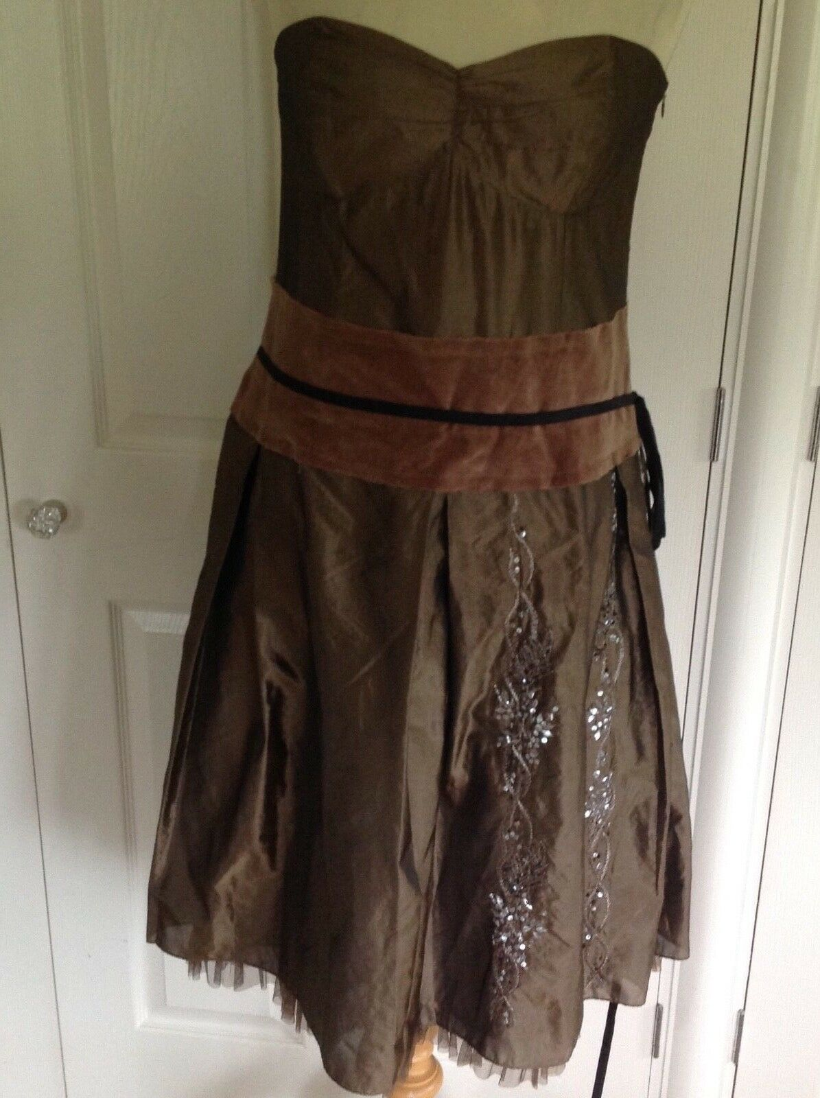 WHISTLES stunning bronze strapless occasion dress with embellishment