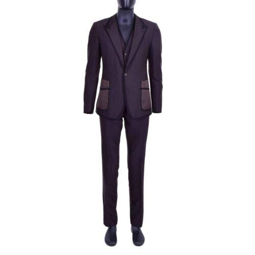 3 Dolce Teile Gabbana Sakko Weste Anzug Stickerei Sicilia 06902 Braun amp; Blazer q77t4