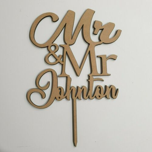 """Personalised Wooden/""""MR /& MR /""""Wedding//Anniversary//Engagment Cake Topper 21x16cm"""