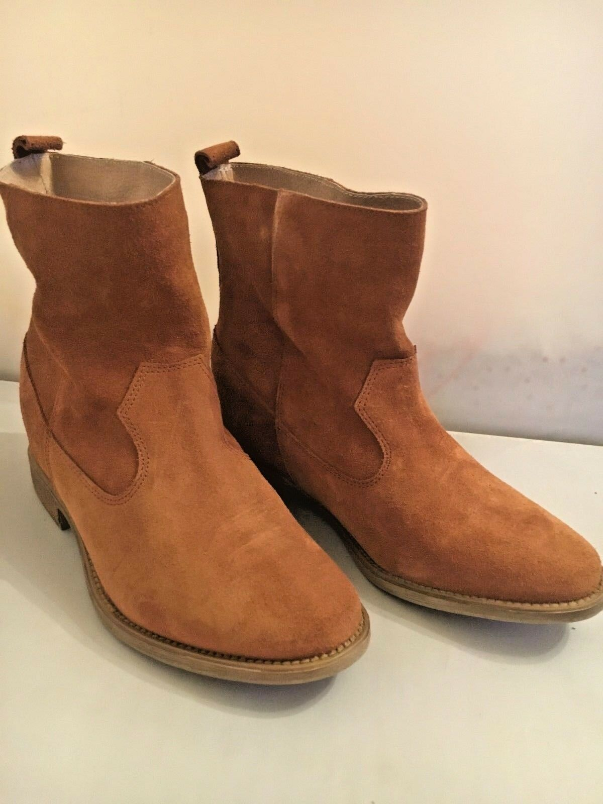 Anthropologie marron Suede Pull On Ankle bottes démarrageies Spain Taille 36 New