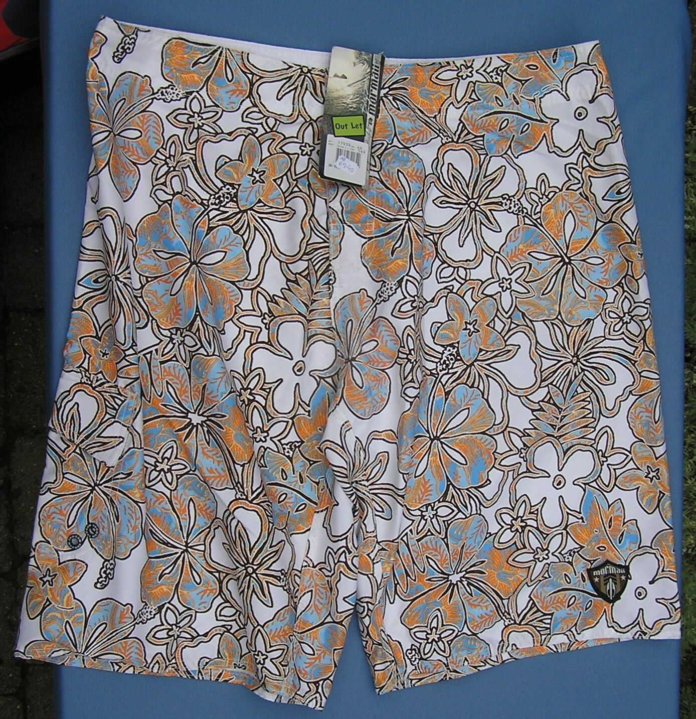 Hawaiian Swim Surf Shorts Mens NWT 38 Floral Lined New Boardshort Bermuda Board