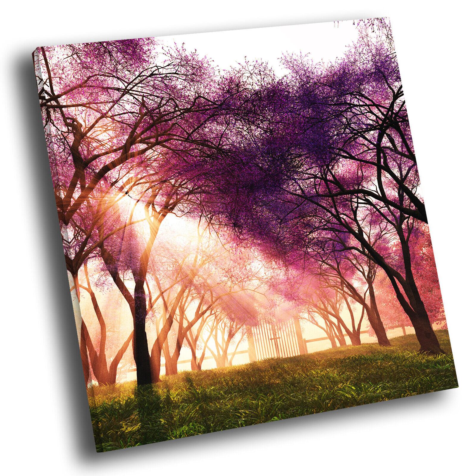 Retro lila Grün Tree Sunrise Square Scenic Canvas Wall Art Picture Print