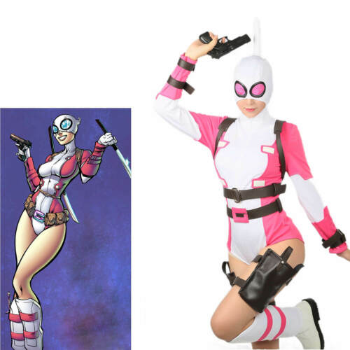 XCOSER Updated Gwenpool Costume Comic Gwen Poole Cosplay Lady Suit+shoes