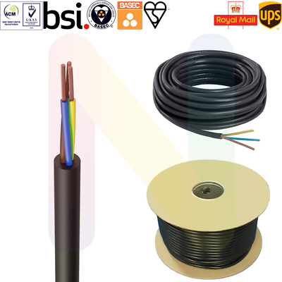 ELECTRICAL CABLE 3 CORE 2.5mm 25 amp ROUND BLACK MAINS WIRE FLEX 240v