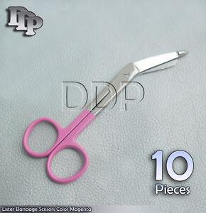 10-Bandage-Scissor-Magenta-Handle-Paramedic-EMS-Nurse-Medical-Uniform-Supply