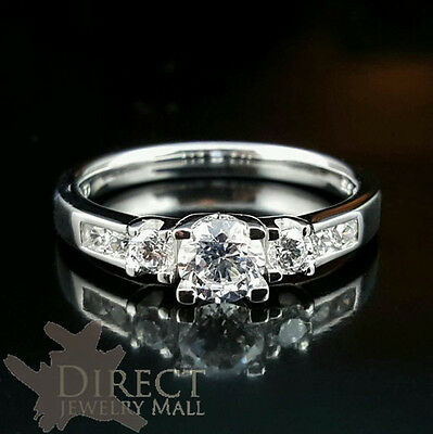 9ct REAL White GOLD Created DIAMOND Wedding ENGAGEMENT Ring Full Size HIJ-TUV