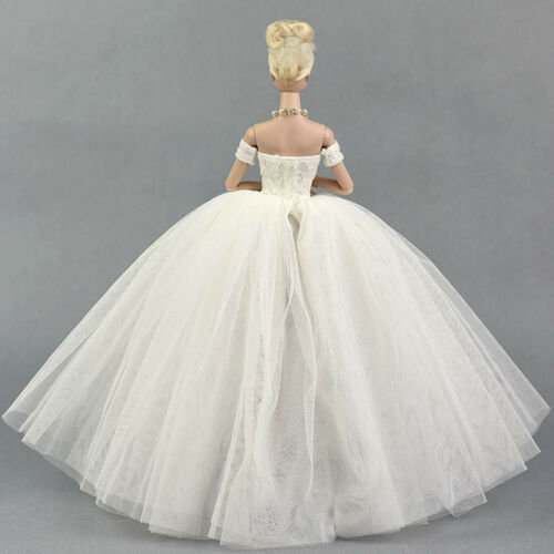 Pure White Wedding Dress for 11.5inch Doll Evening Party Clothes for 1//6 Dolls