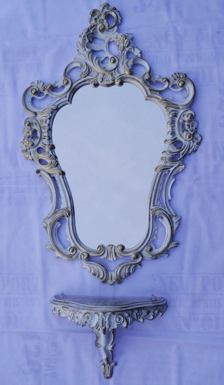 Set M Or Blanc Miroir mural + DEPOSE CONSOLE 50X76 ANTIQUE BAROQUE NEUF