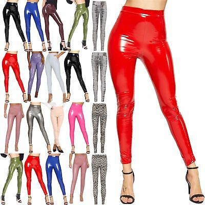 Ladies Wetlook High Waist Faux Shiny Pant Womens Stretchy Elasticated Leggings