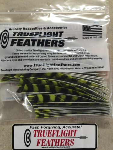 Trueflight 5 inch Feathers Left Wing Shield 100 pack Chartreuse Barred