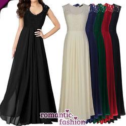 ♥Größe 36-46 Bodenlanges Abendkleid Cocktailkleid Ballkleid in 4 Farben+NEU♥