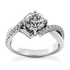 3/4 CT ROUND DIAMOND ENGAGEMENT RING VS2 D 14k WHITE GOLD ENHANCED
