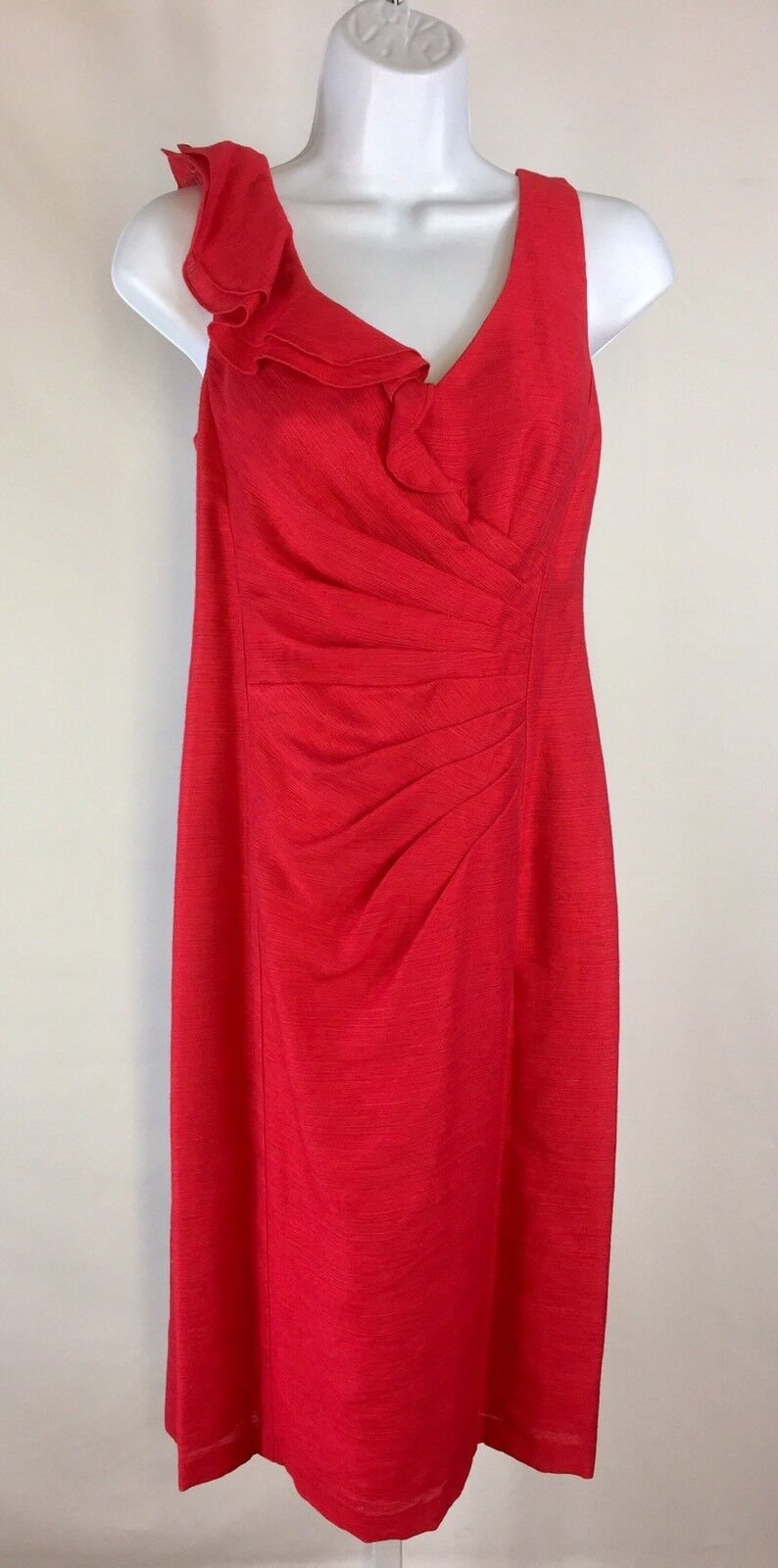 Nanette Womens Dress Sleeveless Ruched Ruffle Size 6 Red Event Dressy Wedding