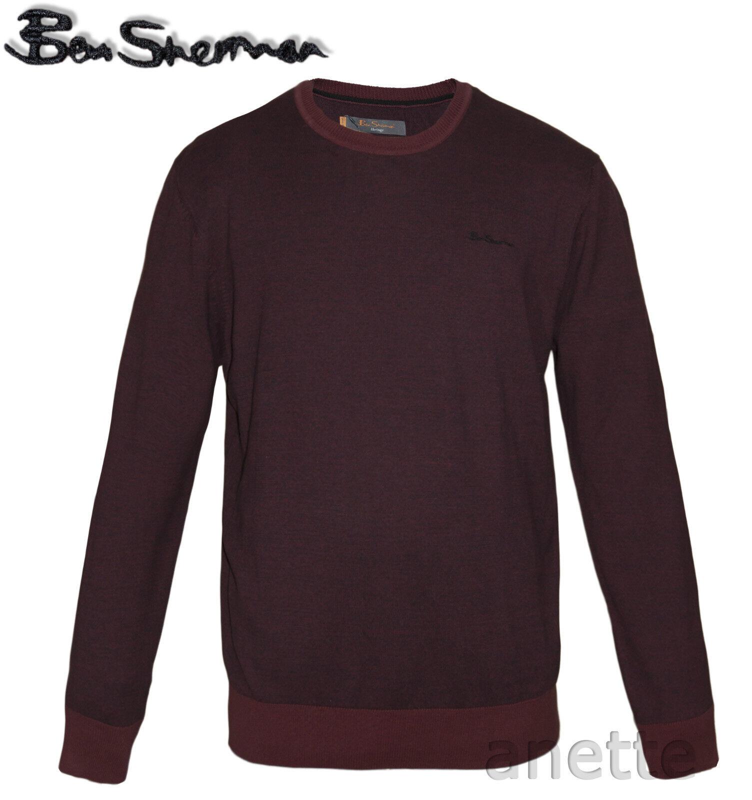 Ben Sherman Borgogna Marna Maglione Da Uomo Con Con Con Logo Ricamato Cotone a Costine trim NUOVO CON ETICHETTA 6f462a