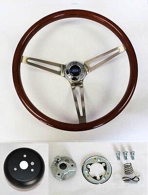 "Bronco F100 F150 F250 F350 Wood Steering Wheel High Gloss Grip 15"" Ford Cap"