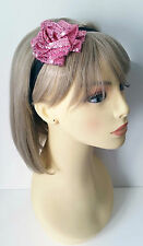 Gorgeous sparkly elasticated pink sequin flower headband - kylie band * NEW *